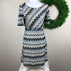 PIXLEY | Chevron Knit Midi Dress Chic Medium